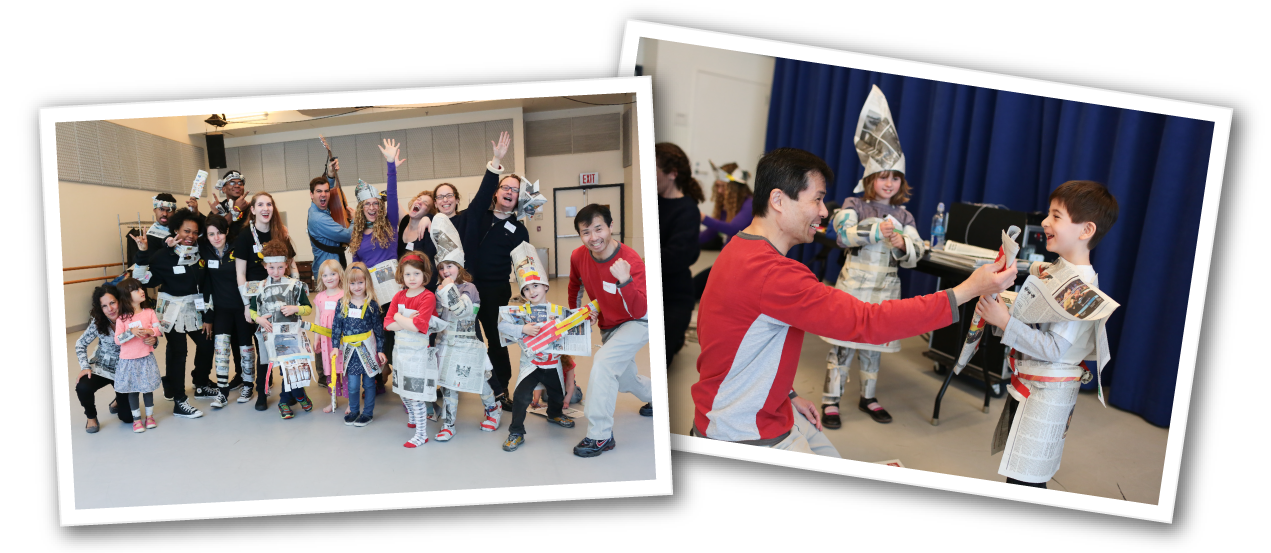 Families make newspaper rocker costumes in our Songwriting Family Workshop.