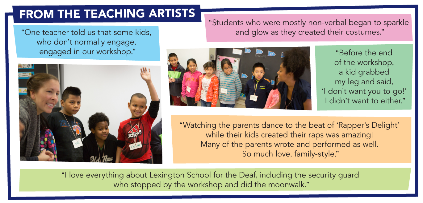 "QUOTES FROM THE TEACHING ARTISTS: ""One teacher told us that some kids, who don't normally engage, engaged in our workshop."" ""Students who were mostly non-verbal began to sparkle and glow as they created their costumes."" ""Before the end of the workshop, a kid grabbed my leg and said, 'I don't want you to go!' I didn't want to either."" ""Watching the parents dance to the beat of 'Rapper's Delight' while their kids created their raps was amazing! Many of the parents wrote and performed as well. So much love, family-style."" ""I love everything about Lexington School for the Deaf, including the security guard who stopped by the workshop and did the moonwalk."""