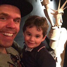 Perez Hilton and son J.R., via Instagram.