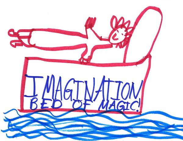 A drawing of a smiling figure on a bed over water annotated with 'Imagination bed of magic!'