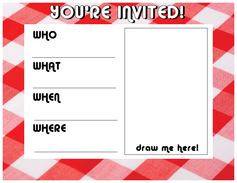 Blank picnic invitation with a space to draw the invitee