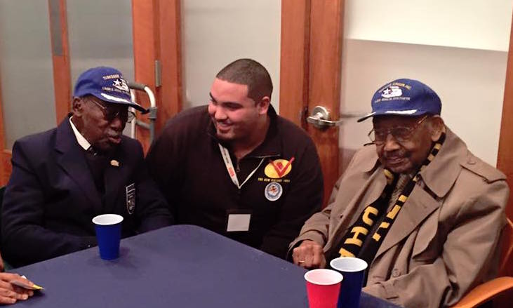 Third-Year Usher Greg Arrastia with Tuskegee Airmen Audley Coulthurst and Dabney Montgomery