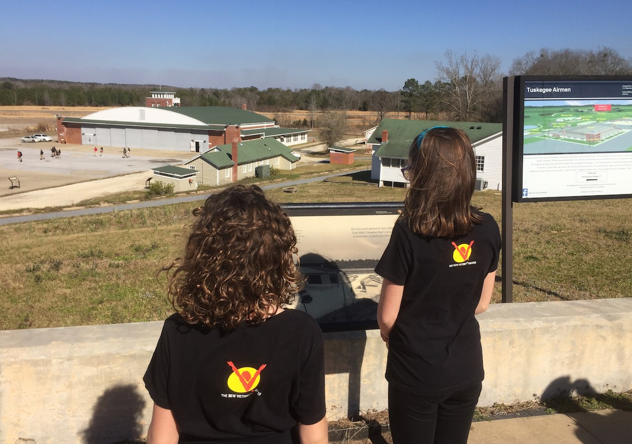 Genevieve and Phoebe overlook the Tuskegee Airmen National History Site