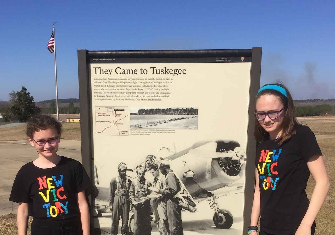 Genevieve and Phoebe at the Tuskegee Airmen National History Site