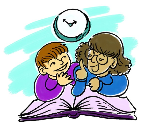 Two children reading together