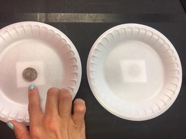 Place your third coin on one of the plates.
