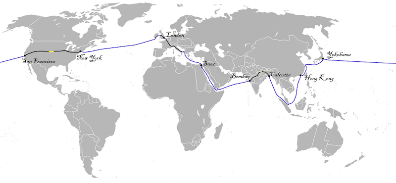 A map with the cities of London, Suez, Bombay, Calcutta, Hong Kong, Yokohama, San Francisco and New York marked and connected.