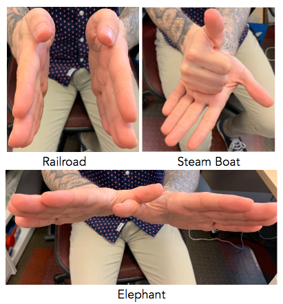 How to physicalize a railroad, steam boat and elephant with your hands.
