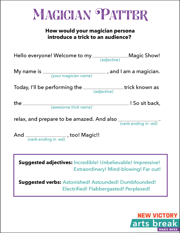 Magician Patter Worksheet