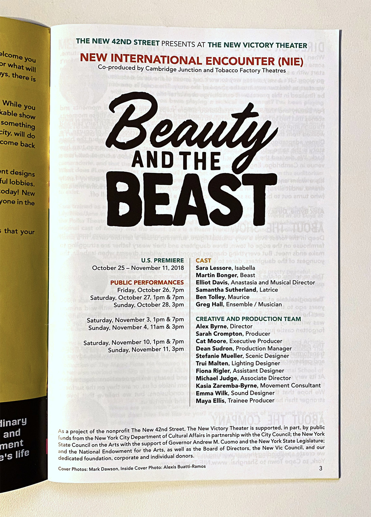 The BEAUTY AND THE BEAST Playbill