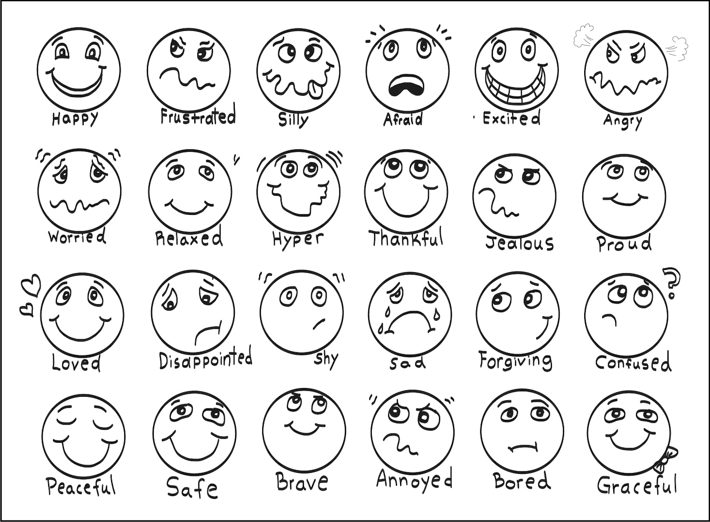 Feeling faces coloring sheet by Kristina Sargent