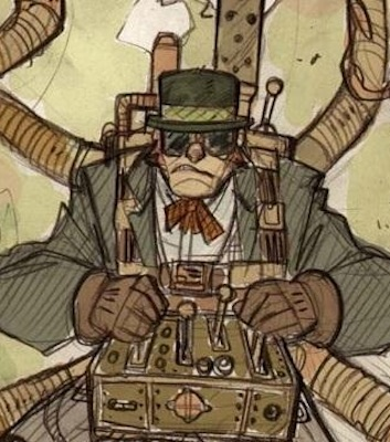 Steampunk example: Goggles, thick gloves, a brimmed hat, a bowtie, a long coat, levers and corrugated tubes