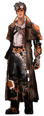 Steampunk example: Goggles, long coat, mechanized boots and gloves, futuristic belt and chest buckles
