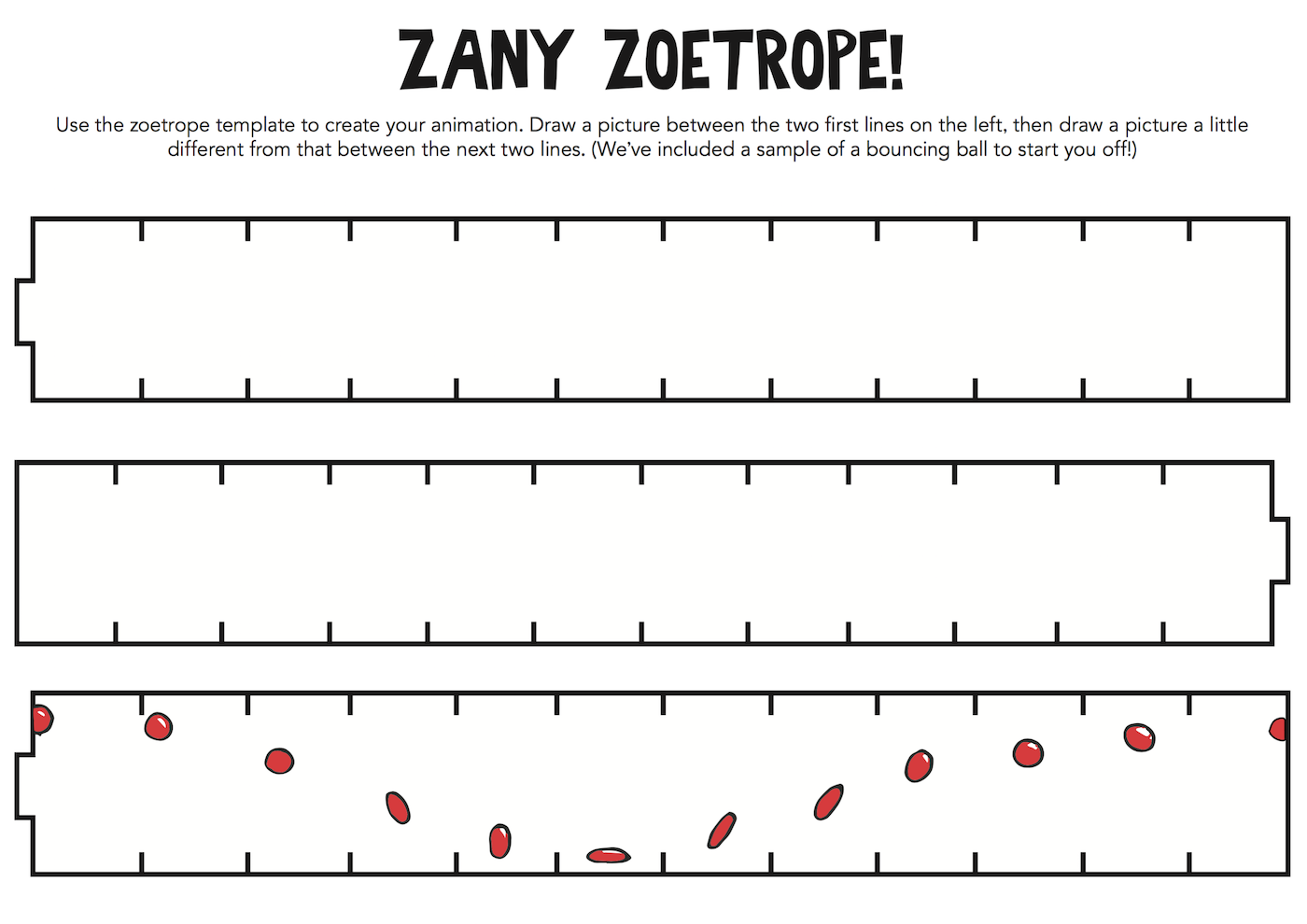 Printable Zany Zoetrope template