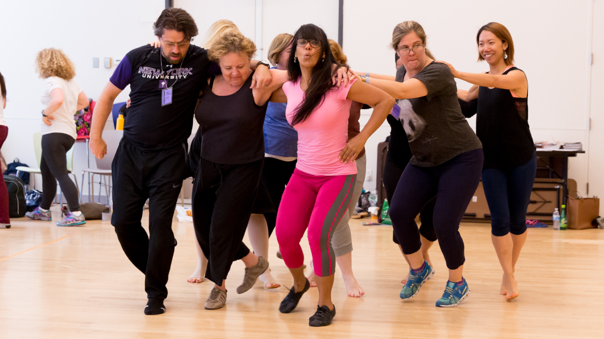 Group of teachers dancing at Dance Education in the Classroom workshop