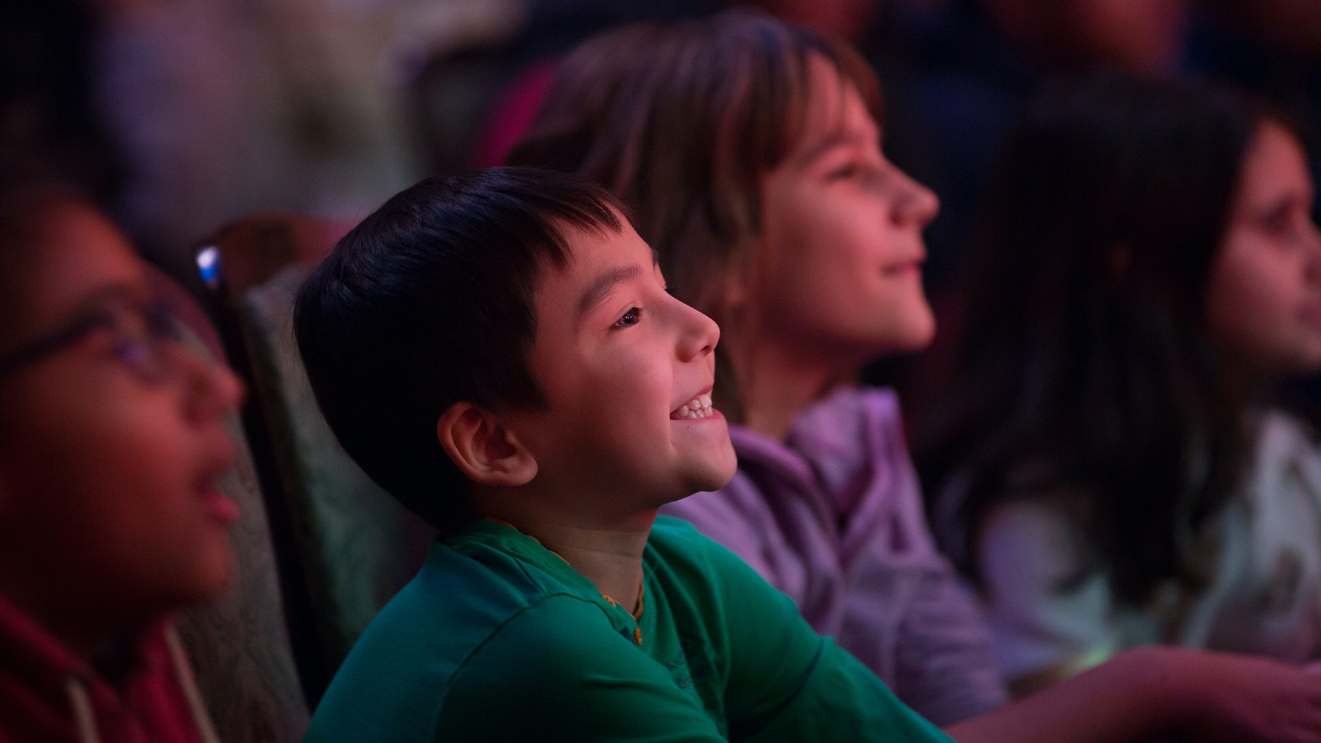 A young smiling boy watches a performance.