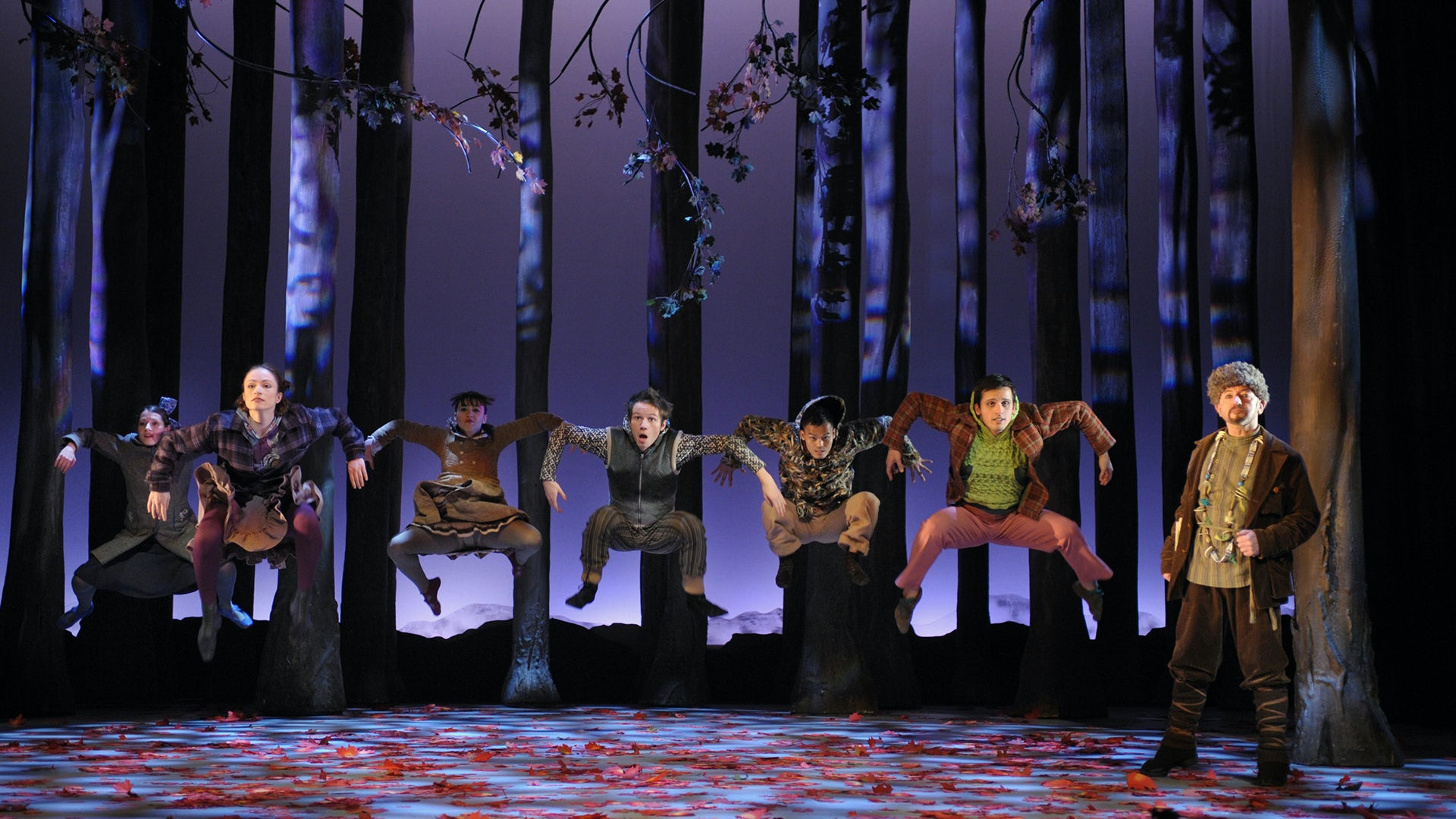 The company of In The Wings in a scene from their production of Peter and The Wolf.