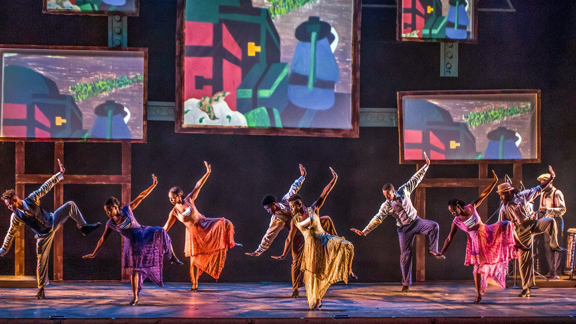 The company of Step Afrika! in a dance from their production of The Migration: Reflections on Jacob Lawrence.