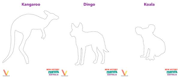 Kangaroo, Dingo and Koala Shadow Puppets