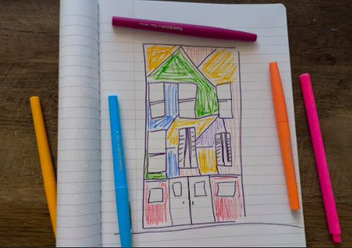 A drawing of a colorful building