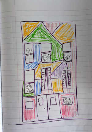 A drawing of a colorful building with people inside