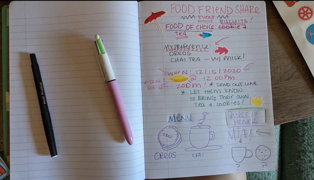 Notebook page, food and friends