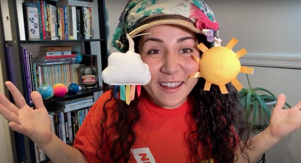 New Victory Teaching Artist Sofiya Cheyenne shows off her decorated jamboree hat.