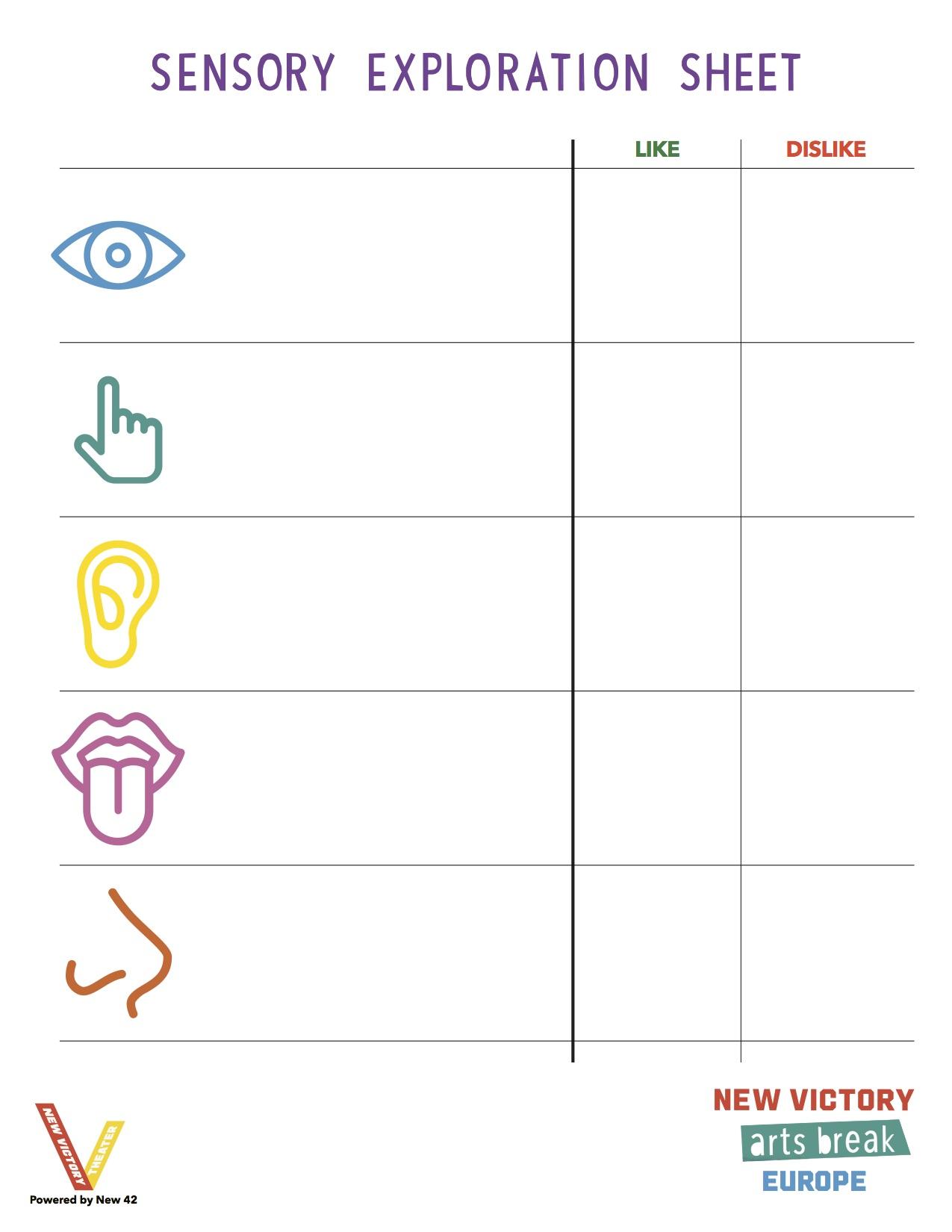 Sensory Exploration Sheet