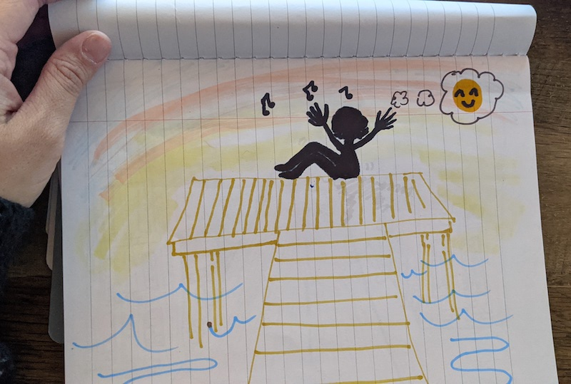 Hand-drawn image of a person whistling on a dock