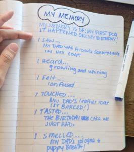 A handwritten list of memories in a notebook