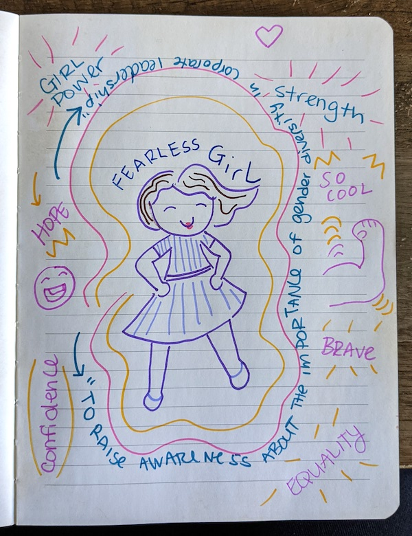 A drawing of a fearless girl statue in a notebook with descriptive words written around it