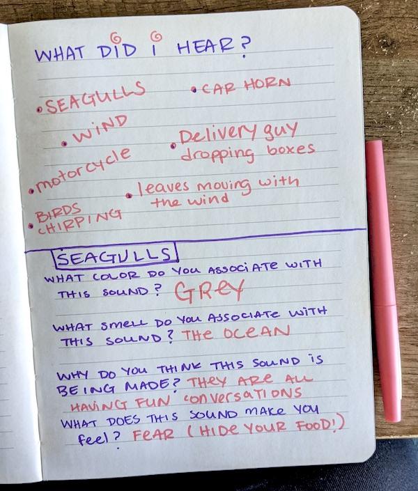 A soundscape activity handwritten in a notebook