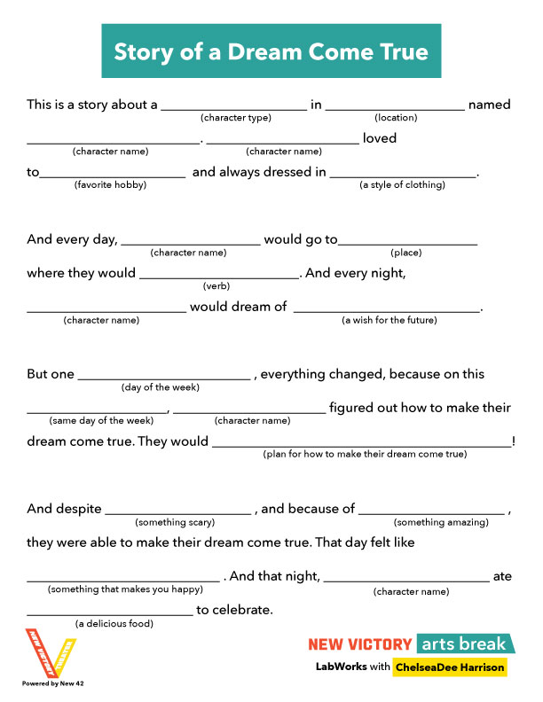 Story of a Dream Come True Mad Libs template