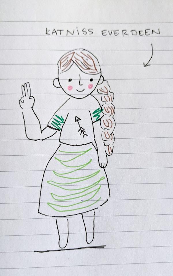 A drawing of Katniss Everdeen