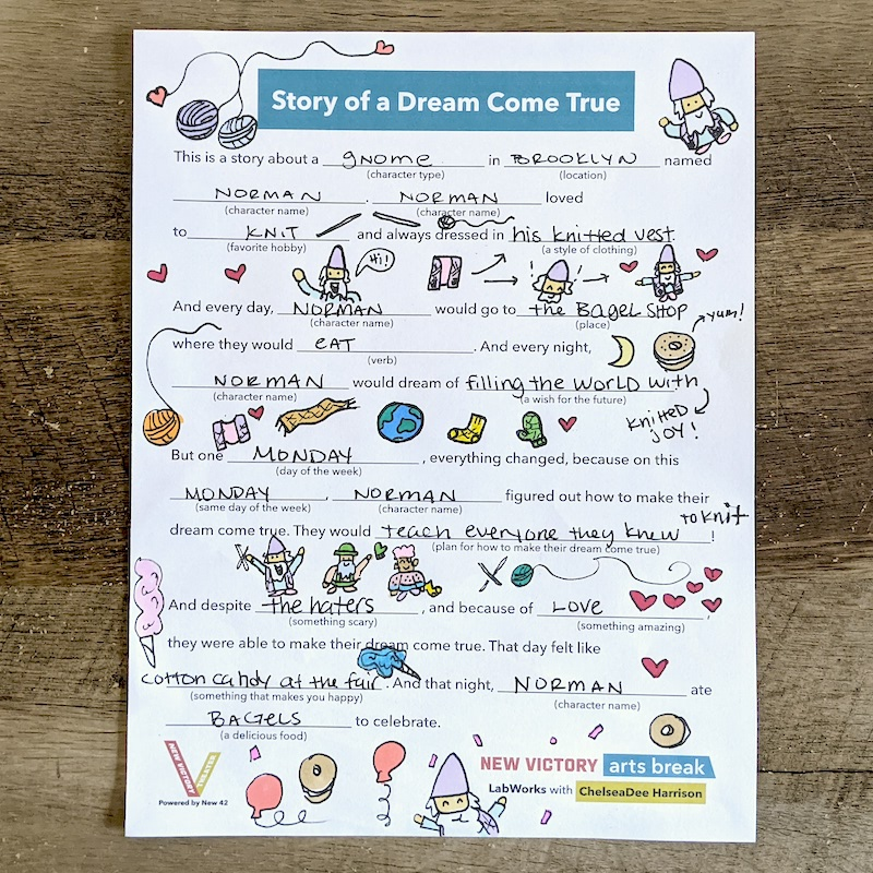 A completed Mad Libs template with hand-drawn doodles around