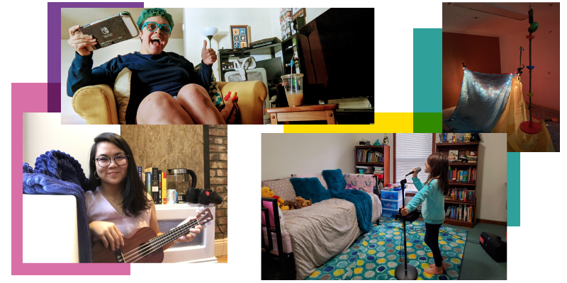 A collage of images of New Victory staff in their at-home creative spaces
