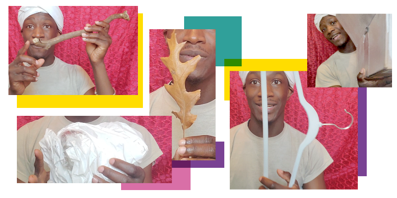 A collage of images of William Porter holding objects from his Noggin Box