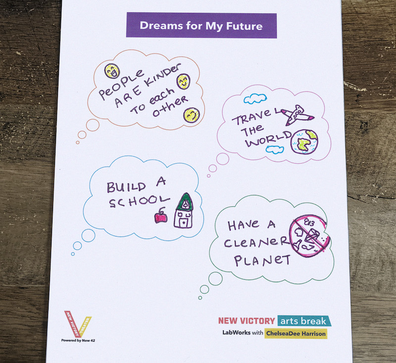 Completed Dreams of My Future worksheet template