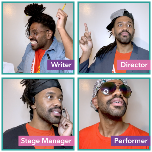 Four individual Images of Teaching Artist P. Tyler as a writer, director, stage manager and performer