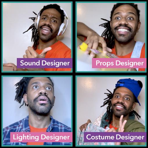 Four individual Images of Teaching Artist P. Tyler as a sound designer, props designer, lighting designer and costume designer