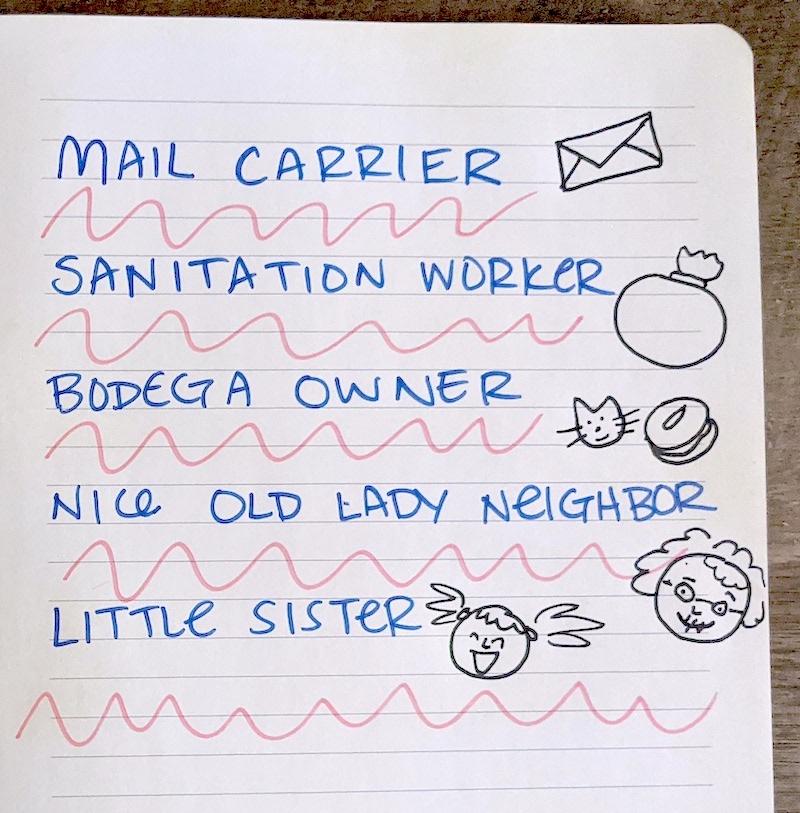 A handwritten list of everyday