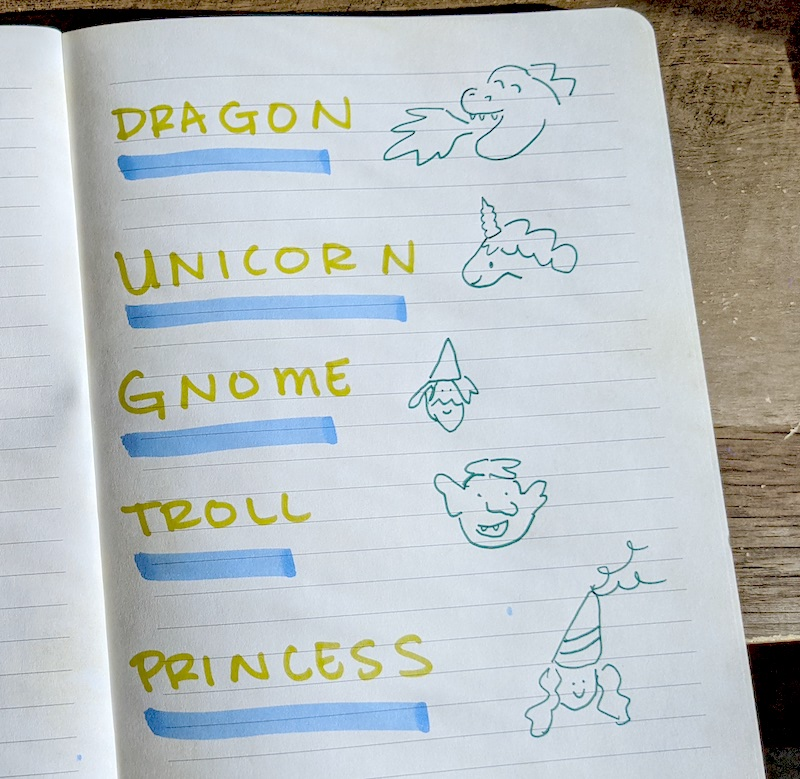 A handwritten list of imaginary characters including dragon, unicorn, gnome, troll and princess