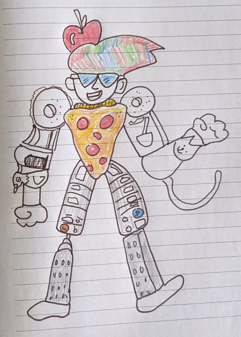 A drawing of a superhero made out of NYC-inspired items
