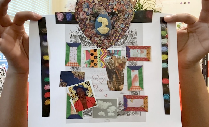 Two hands holding up a work of collage art inspired by joy, liberation and resilience