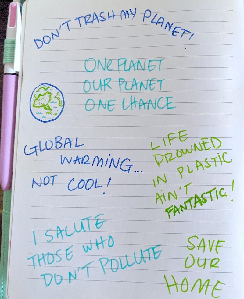 A handwritten list of slogans