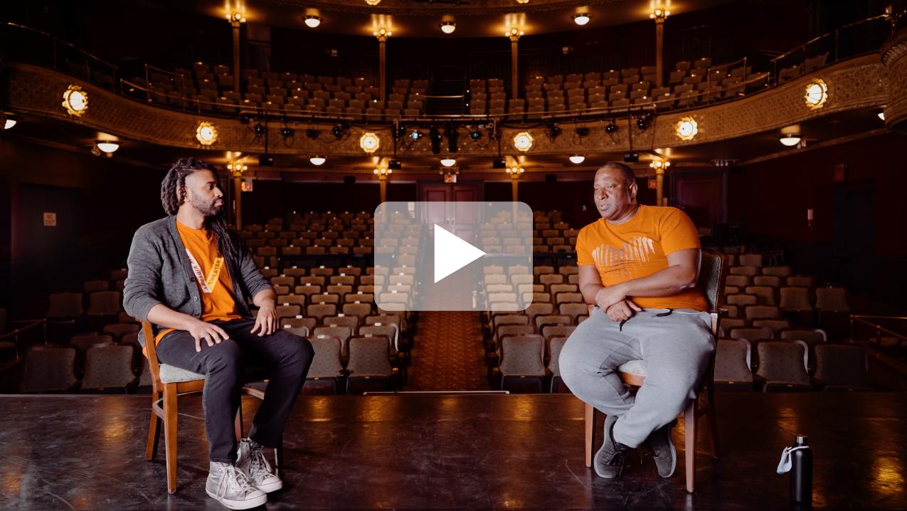 P. Tyler Britt talks to choreographer Christopher Rudd at The New Victory Theater