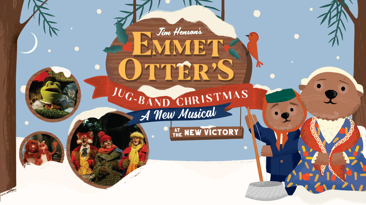 Jim Hensons' Emmet Otter's Jug-Band Christmas title Illustration featuring two otters and cast photos