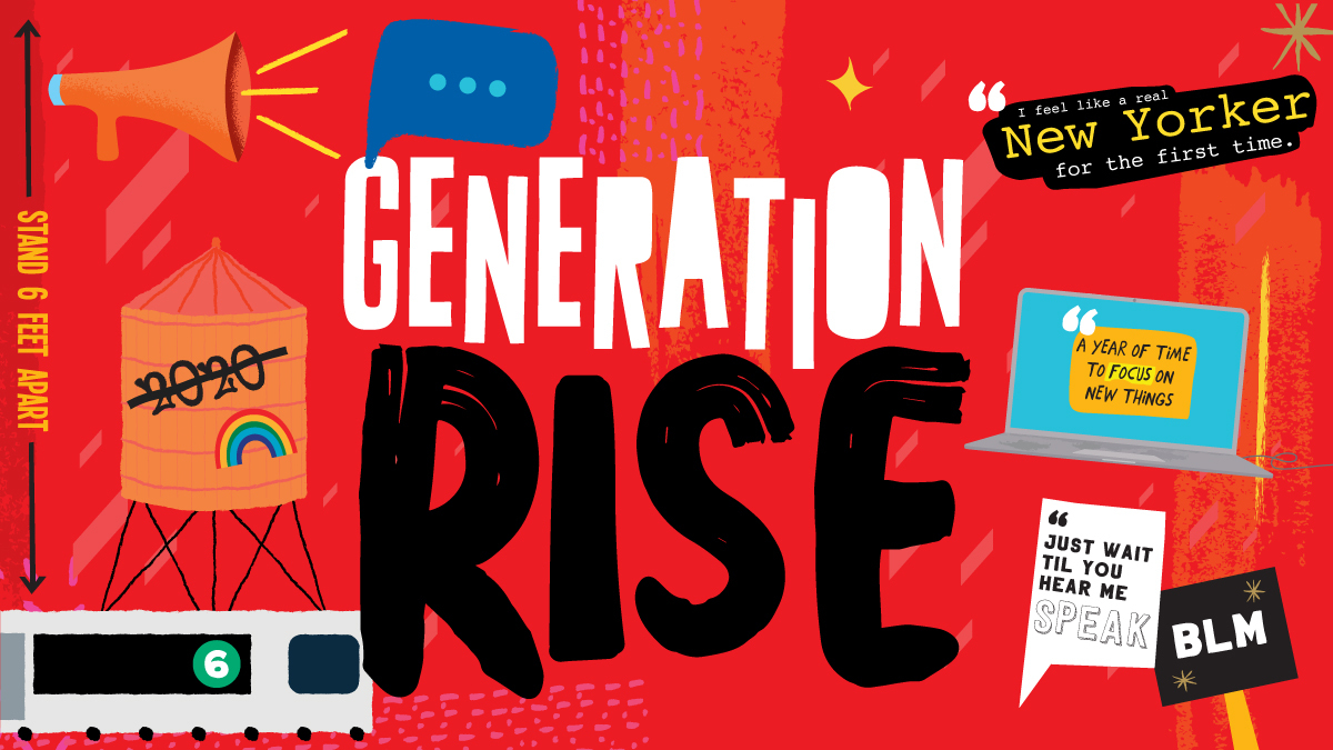 Generation Rise title illustration featuring subway, protest signs and symbols of NYC on a red background